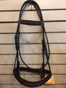 """NEW Edgewood Fancy Stitched Padded Bridle- 1""""- Horse Size- Newmarket"""