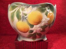 Antique Vintage French Majolica Oranges & Flowers Cache Pot Planter, fm1163