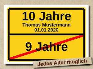 Ortsschild Bild 10. Kindergeburtstag Geburtstag Deko Geschenk Verkehrsschild