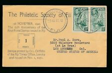 FIJI 1870 to 1945 ANNIVERSARY of FIRST ISSUES PHILATELIC SOCIETY ENVELOPE