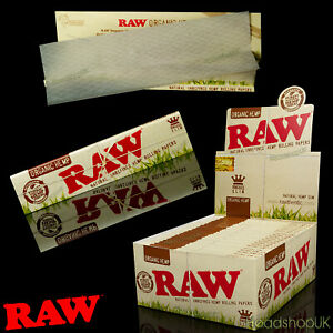 50 x RAW Organic Hemp Kingsize Slim Rolling Papers Natural Skins 110mm