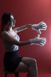 New women's white winter gloves handmade natural goat fur angora cashmere XL-XXL