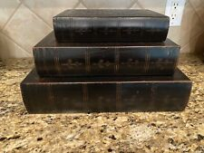 Home Decor Faux Books Storage Decorative Set Of 3 Dark Brown & Gold