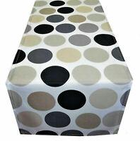 Tischdecke Tischläufer grau beige Punkte modern Stoff 130 x 40 cm