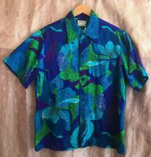 Vintage Men's Hawaiian Cotton Shirt; Made In Hawaii by Pacific Isle; Blue Green