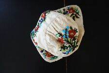 ANTIQUE TEXTILES- CIRCA 1800's,EARLY CHILD'S LINEN HAT WITH BEADWORK