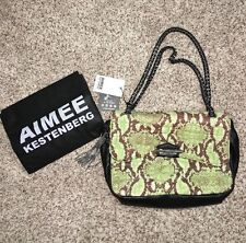 Aimee Kestenberg Clutch Purse Leather Quilted Front Cobra Green Multi-Color NWT