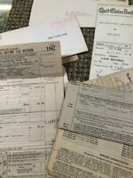Lot of 20+ Vintage Bank Documents- TAX  1940's-50  ANSONIA, CONNECTICUT Ephemera