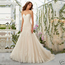 New Sexy Mermaid LACE Wedding Dress Bridal Gown Custom Size 4 6 8 10 12 14 16++