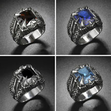EG_ MEN'S PUNK DRAGON CLAW STAINLESS STEEL RING GOTHIC BLUE RED BLACK STONE GROO