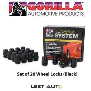 Gorilla The System (20) Black Wheel Locks, 12mm x 1.50, Bulge Acorn, 71633NBC