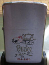 Zippo lighter 1966 w/RED cotton insert Patrico Transit Cement Truck Advertising