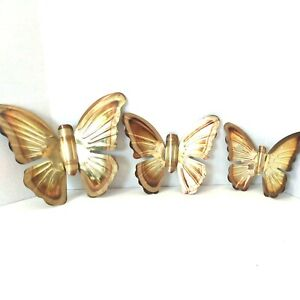 Home Interiors Homco Brass Butterfly Wall Plaques Set of Three Vintage