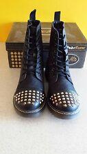 New Women Gia Mia Denim Rocker Spike Boots Size 12 Black
