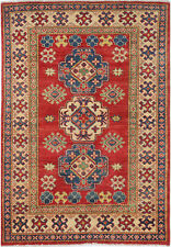 4X6 Hand-Knotted Kazak Carpet Tribal Red Fine Wool Area Rug D48562