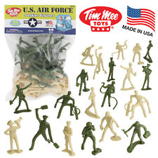 TimMee AIR FORCE Plastic Army Men Green & Tan 26pc Toy Soldier Figures USA Made