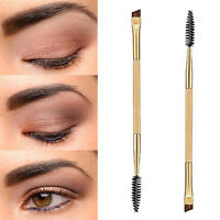 Eyebrow Shaping Duo Double Ended Flat Angled Eyeliner Mascara Make Up Brush UK