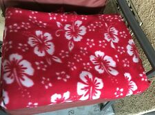 "Rose red Hawaiian hibiscus fleece fabric 60"" wide, sold bty"