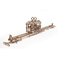 TRAM with RAILS 3D Mechanical Puzzle, DIY wooden construction kit moving model