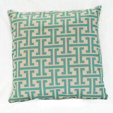 Aqua and Beige Greek Key Cotton Linen Sofa Decor Pillow case Cushion Cover 45cm