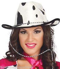 Ladies Sexy Cowgirl Cow Print Cowboy Wild West Sheriff Fancy Dress Costume Hat