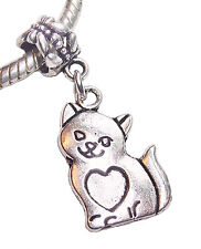 Cat Kitten Pet Animal Heart Dangle Bead for Silver European Style Charm Bracelet