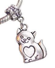 Cat Kitten Pet Animal Heart Dangle Bead for Silver European Style Charm Bracelet