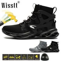 Wisstt Men's ESD Work Steel Toe Boots Safety Shoes Indestructible Hiker Trainers