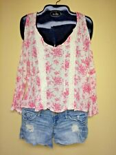 Justice Girls White & Pink Floral Cold Shoulder Peasant Style Blouse Sz.14