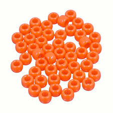 Neon Orange Round Large Hole Plastic Pony Beads 8mm Pack of 50 (D107/4)