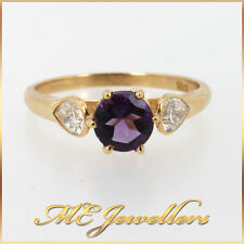 Solid 18K 18ct Yellow Gold Dress Ring With 0.50ct Amethyst 0.40ct TDW Diamonds