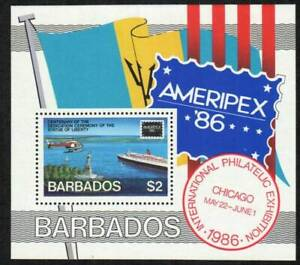 Barbados Stamp - Ameripex 86;;Statue of Liberty, helicopter - NH
