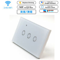 3 Gang Smart WiFi Wall Touch Light Switch APP Control For Amazon Alexa Google US