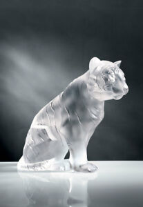 Lalique Crystal, Sitting Tiger, Small, Clear Ref # 10058000