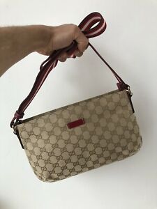 Cool Gucci GG Canvas Leather Side Bag Pouch Cross Body Brown Red Made in Italy