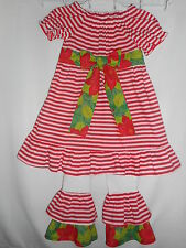 Handmade Christmas Dress Outfit with Ruffle Leggings Toddler Girls Size 4T NEW
