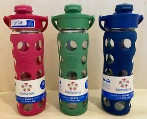 Lifefactory BPA Free 16 oz Glass Water Bottle Silicone Grip Flip Cap Sports Yoga