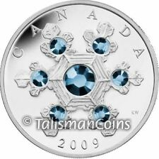 Canada 2009 Crystal Snowflake $20 Pure Silver Proof with BLUE Swarovski Crystals