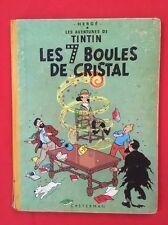 TINTIN 7 BOULES CRISTAL 13B20 1956 DOS JAUNE BON ÉTAT CASTERMAN HERGÉ BD Ref8