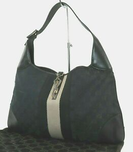 Authentic GUCCI Jackie O Black GG Canvas and Leather Tote Hand Bag Purse #39331