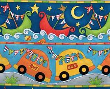 By 1/2 Yard Henry Glass Fabric Rhyme Time Border Stripe ~ Children's Bus Boat