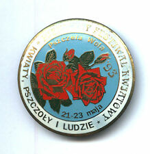POLISH pin badge - Festival of flowers and bees - APIMONDIA ROSE - blue colour