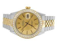 Rolex 18K/ Steel Datejust Two Tone 36MM Quickset 16013 Diamond Watch 3.0 Ct