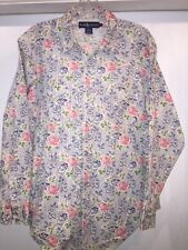 Ralph Lauren Womens Shirt Top Size 12 Western Floral Roses Pearl Snap Blue Label