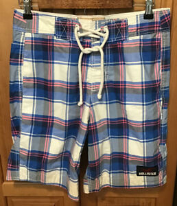 Hollister Mens Board Shorts Size XS Lined Drawstring Swim Trunks Suit Blend EUC