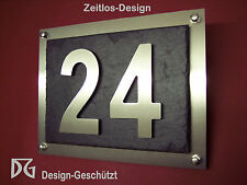 High quality 3D-house number plate/Door sign made of stainless steel and slate