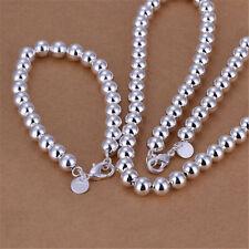 925 silver women Charm 8MM beads Pretty wedding Bracelet necklace jewelry set