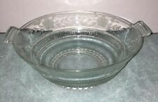 Glass Bowl with Cut glass Engraved Flowers Crystal Vintage