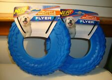 Set Of 2 NERF SMALL & PUPPY DOG Flyer Frisbee Disc Heavy Duty  Toy BLUE NEW