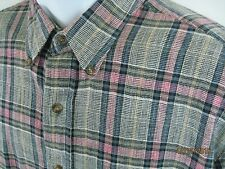 River Traders-Men L Cotton Plaid Flannel Shirt-Button Down-LS-Gray/Red/White